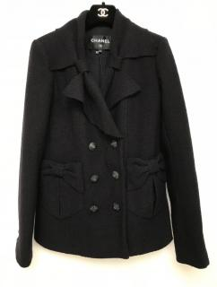 Chanel Navy Bow Trim Short Coat