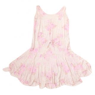 Virginia Bates Vintage Rose Print Silk Beaded Handmade Flapper Dress