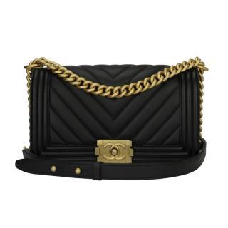 Chanel Medium Black Calfskin Chevron Boy Bag