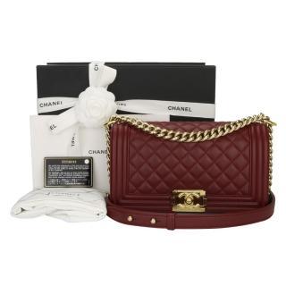 Chanel Old Medium Burgundy Lambskin Boy Bag