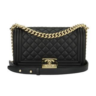 Chanel Old Medium Black Lambskin Boy Bag
