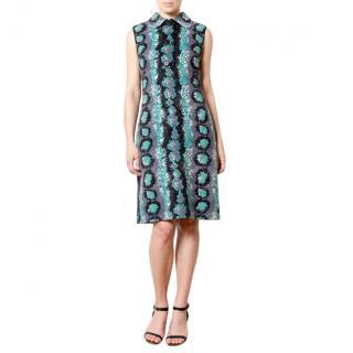 Prada Wool Snake Print Shift Dress