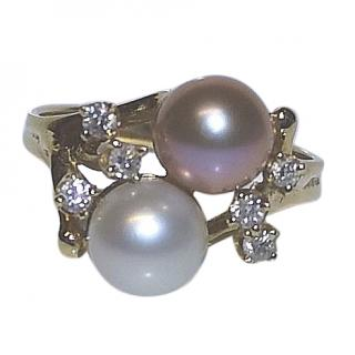 Maui Divers Freshwater Pearl in Coral Diamond Ring