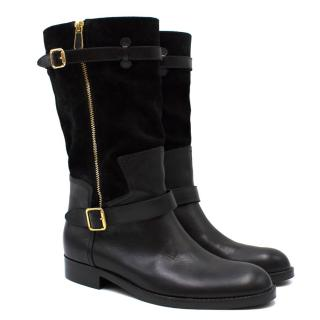 Paul Andrew Black Leather & Suede Biker Boots