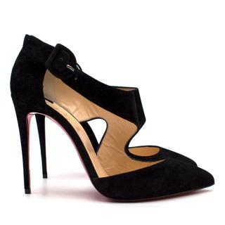 Christian Louboutin Black Suede Sharpeta Cut Out Pumps