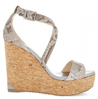 Jimmy Choo Snakeskin Print Portia 120 Wedge Sandals