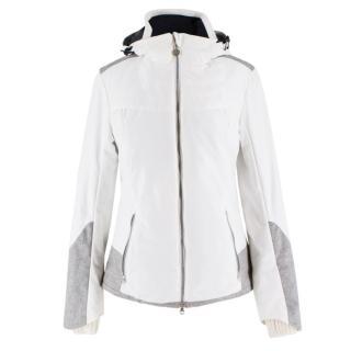 Armani EA7 Grey Tweed Panel White Ski Jacket
