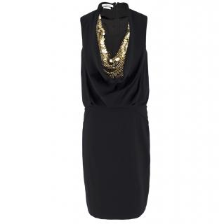 Givenchy Black Sleeveless Gold-tone Chain & Coin Cowl Neck Dress