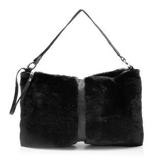 f1d65d55730c Bewitched Couture Mink Fur   Salmon Skin Shoulder Bag