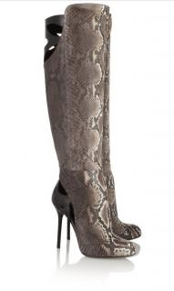 Sergio Rossi full python & brown leather cut out boots