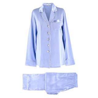 Olivia Von Halle Blue Silk Pyjamas