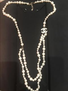 Chanel World Map Faux Pearl Necklace