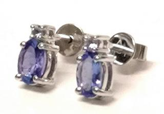 Bespoke Tanzanite Earrings 0.70ct 14ct White Gold