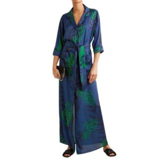 Borgo De Nor Blue Leaves Shirt Dress