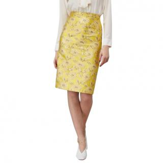 Prada Lurex Jacquard Pencil Skirt