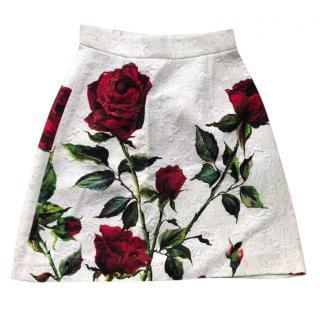 Dolce & Gabbana rose print jacquard mini skirt