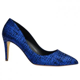 Rupert Sanderson Nada Bluebonnet Tweed Laminate Pumps