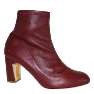 Rupert Sanderson Tamora Burgundy Leather Sock Ankle Boots