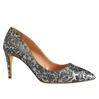 Rupert Sanderson Malory Smokey Grey Regency Heel Pumps