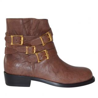 Rupert Sanderson Parnassus Brown Leather Biker Boots