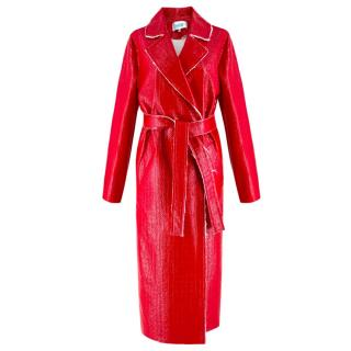 Walk of Shame Moscow Red Laminated Tweed Coat - SOLD OUT