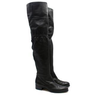 Jimmy Choo Black Leather Thigh High Boots