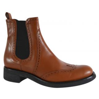 Rupert Sanderson Saymara Brown Calf Leather Ankle Boots
