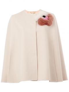 FENDI mink fur appliqué wool cape