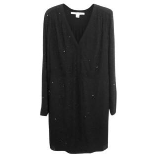 Diane Von Furstenburg black v-neck sequin dress