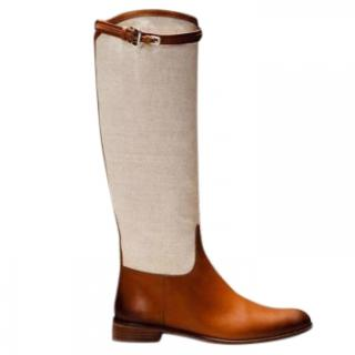 Massimo Dutti Equestrian Collection Leather & Canvas Boots