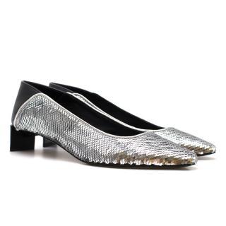Loewe Leather-paneled Sequin Collapsible-heel Pumps - Current Season