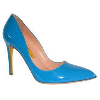 Rupert Sanderson Malory Pool Blue Patent Leather Heel Pumps