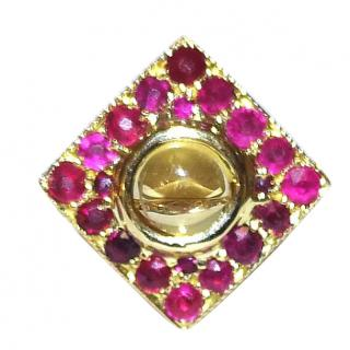 Vintage Ruby Cluster & Cabochon Citrine Ring 18ct Gold