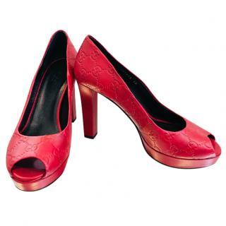 Gucci Red Guccisima Leather Pumps