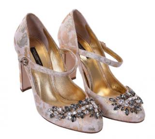 Dolce & Gabbana Brocade Crystal Mary Jane Pumps
