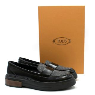 Tod's Black Leather and Brushed Felt Loafers