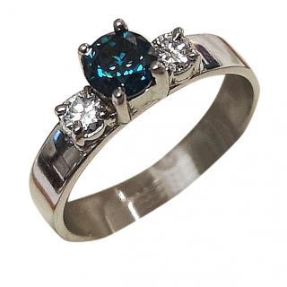 Bespoke Blue & White Diamond Trilogy Ring 18ct Gold