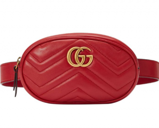 Gucci Marmont Matelasse Leather Belt Bag Red w/Dustbag/Box - Current