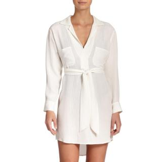 Marie France Van Damme White Silk Tunic Dress