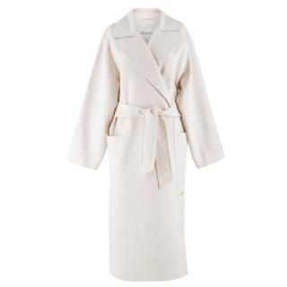 MaxMara Wool & Cashmere-blend Ivory Belted Coat