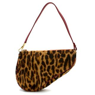 Dior Vintage Leopard Print Pony Hair Saddle Bag