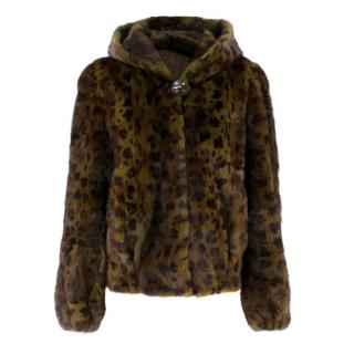 Bespoke Fur Khaki Leopard Print Mink Jacket