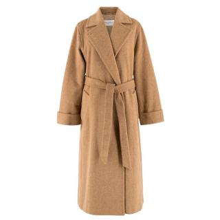 Max Mara Camel Alpaca & Wool-blend Chevron Weave Belted Coat