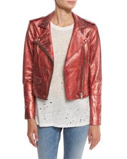 Iro Axelle Red Metallic Moto Jacket