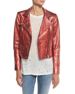 Iro Axelle Red Metallic Moto Jacket