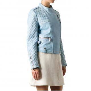 Barbara Bui Blue Coated Leather Jacket