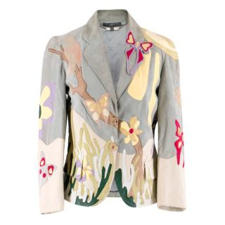 Alexander McQueen Leather Butterfly Applique Jacket