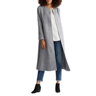 Eileen Fisher Grey Suri Alpaca Long Coat