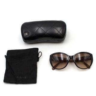 Chanel Black Framed Quilted Leather CC Arm Detail Sunglasses
