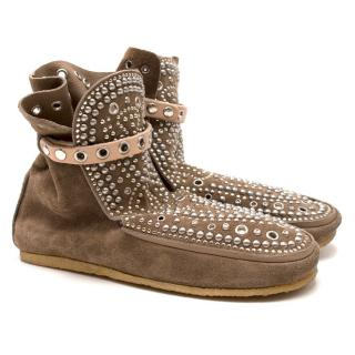 Isabel Marant Brown Studded Moccasin Boots